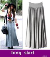 fashion autumn solid women large pleated high waist skirt / slim loose joker maxi long chiffon beach vestidos freeship