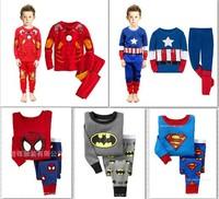 Children's clothing / cotton long-sleeved pajamas set / Spiderman /Batman/superman/boy's sleepwear
