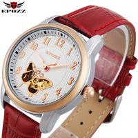 2014 Free shipping women dress watches butterfly skeleton automatic mechanical watch leather strap wristwatch reloj de pulsera