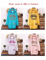 2013 New arrival spring autumn Plus size Women Hoodie Outerwear Freeshipping L-4XL,4 Color