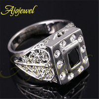 Hollow Out Leaf Designer Rhinestones Man Jewelry 2014 18K White Gold Plated Black Zircon Fashion Rings For Men