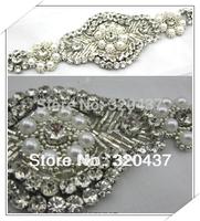 2014 new Diamond wedding sash veils sewn pearl applique beading trims crystal bride beaded trim pearl patches