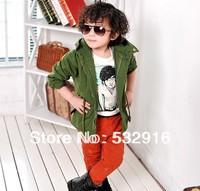 New Children's kids Unisex Zipper & Buttons Long Sleeve Jacket Outerwear Boys And Girls Narrow Waist Hooded Windbreaker 2 Colors