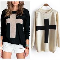 2014 Autumn Winter New Fashion Women Cross Pattern Flat Knitted Sweater Outerwear Preppy Style Pullover