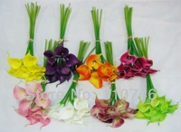 (36pcs/lot)2013 Best Real Touch Flowers For Bouquets Calla Lilies PU Leather Artificial Latex Flowers Wedding Bridal 11 Colors