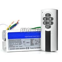 3pcs/lot Wireless 4 Port Light ON/OFF 220V-240V Remote Control Switch+ Transmitter TK0667