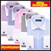 Free shipping Luxury Italian 38-44 spread collar XS-XXXXL striped french cuff dress shirt for men camisa QR-1149