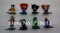 Super Heroes High Quality 8 pcs/lot Iron man/superman/batman/spiderman the Avengers Series' Action Figure Building Block Toys