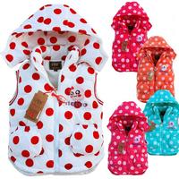 2015 new children's waistcoat winter multicolor thick cap children vest dress coat retail free shipping
