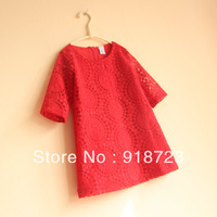 2013 new summer brand z*r* za** children clothing girls long sleeve dress lace princess red and white fashion noble 2T-10T