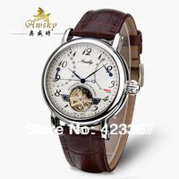 Switzerland Brand Mens Mechanical Watch Automatic Self-Wind Tourbillon Skeleton Waterproof 3ATM Genuine Leather Energy Display