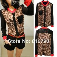 Free Shipping Summer Shirt Spring Clothes Fashion Women Blouse Top Red Collar Patchwork Shirts Leopard Chiffon Shirt 1pcs/lot