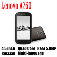 "Original Russian Lenovo A760 Qualcomm Quad Core 3G Mobile Phone 4.5"" 854*480 Screen 4GB Android 4.1 Camera 5.0MP Multi Language"