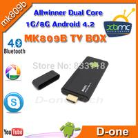 Free shipping MK809II XBMC android Digital TV Converter box Smart High Quality MK809B 1G/8G skype bluetooth wifi TV Stick