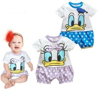 Newborn Bodysuits/Fashion Girl Boy Short Sleeve Rompers/Infant Baby Cute Romper/Donald Duck Daisy Minnie Clothing Set/Retail 1pc