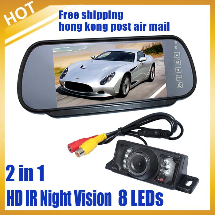 """Car Rear View Kit 8 LEDs HD IR Night vision Camera+7"""" TFT Mirror Screen Moniter ,Free Shipping by HongKong PAM(China (Mainland))"""