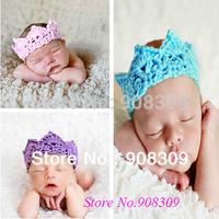Newborn Infant Baby Princess Crown Handmade Knit Photography Photo Props Crochet Crown Headband Headdress Headwear free shipping