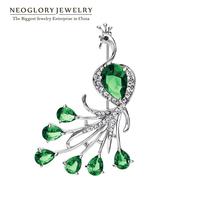 Neoglory CZ Stone aaa Zircon Czech Rhinestone Animal Peacock Style Fashion Brooch Pin for Women 2014 New Arrival Jewelry Present