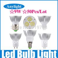 50pcs/lot 9W E27/E14/Gu5.3/Gu10/Mr16 85-265V (110v/220v) CE Warm/Pure/Cold/White High Power LED Lamp/Spot lighting WSP08