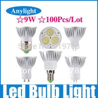100pcs/lot 9W E27/E14/Gu5.3/Gu10/Mr16 85-265V (110v-220v) CE Warm/Pure/Cold/White High Power LED Lamp/Spot lighting WSP09