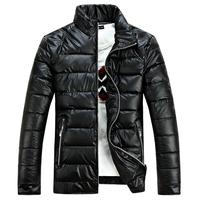 Men's Leather jacket ,High Qulity Bright Cotton Windbreak Waterproof Lether Jacket for Man,Top Degisn Fashion Outwear Coat~