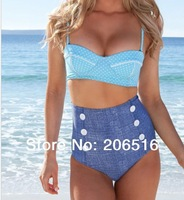 Free Shipping Drop ship New HIGH WAISTED Swimsuits Push Up Padded Swimwear Conservative Swimsuits Girls 1315G