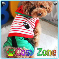 DG016 Hot Sell Watermelon Dog Costumes Winter Thick Teddy Puppy Clothing Stripe Small Dog Clothes Quality Pet Products