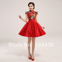 2013 summer evening dress the bride married dress vintage fashion red short design robes cheongsam dress