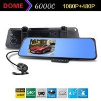 Original 6000C Car Rearview Mirror Camera Recorder DVR Dual lens 1080P 4.3'TFT LCD with G-sensor Motion Detection Night Vision