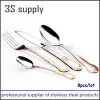 24pcs Stainless steel Flatware tableware dinner spork set cutlery knife /dinning fork /tea spoon /metal silverware dinnerware