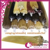 100% human hair micro ring loop hair extensions straight 100g(1g/strand) 100 strands/lot #1 jet black #27 honey blonde