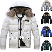 XXXL Winter Eur Warm Down Cotton Men's Coat Detachable Fur Collar Parka Jacket High Quality