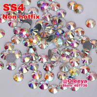 Nail art rthinestone crystal AB color SS4 (1.5-1.7mm) non hotfix flatback rhinestone DIY nail decoration crystal stones