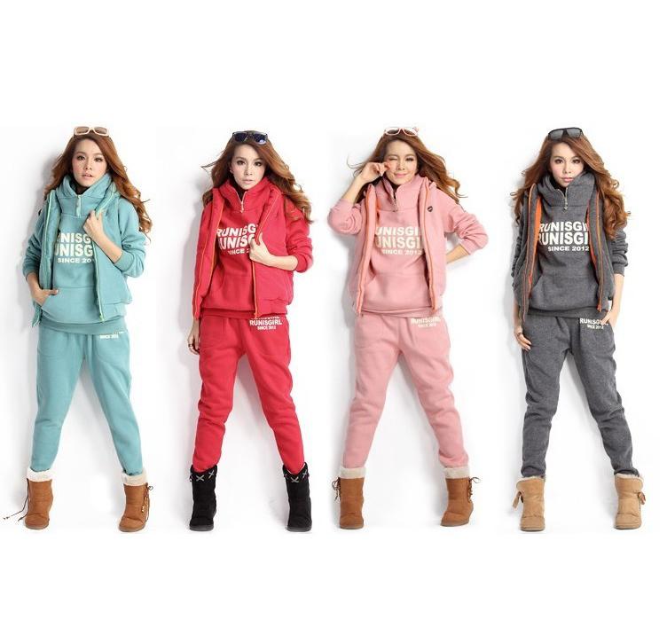 2014 new women thick hoodie set sport suit, (hoodie,pants,vest) 3pcs/set 4colors full size good quailty(China (Mainland))