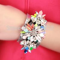 silver wide Shourouk bracelet fashion designer bracelets bangles luxury crystal flower women bracelets high quality jewelry
