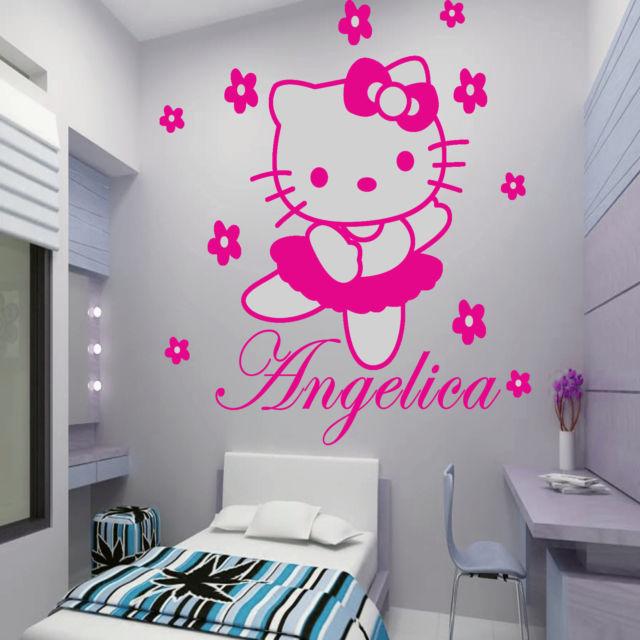 HELLO KITTY Custom Made DIY Flowers Vinyl Wall Decals Wall Art Mural Stickers Adesivos Princess Girls Kids Room Decoration(China (Mainland))
