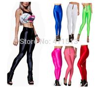 2014 Women Gym Leggings High Waist Neon Candy Colors Supper Stretched Pant Yogo Legging Sport Zipper Pants S-M-L-XL  (13 Colors)