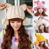 Autumn Winter Women Hats Lovely Lady Caps Heavy Hair Ball Knitted Woolen Warm Beanie Headwear 3 Colors 18572