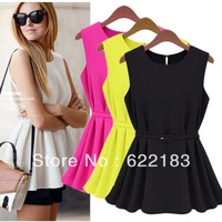 With Belt Chiffon Sleeveless Blouse Women O-Neck Casual Shirt Yellow Black White S-XL 16707