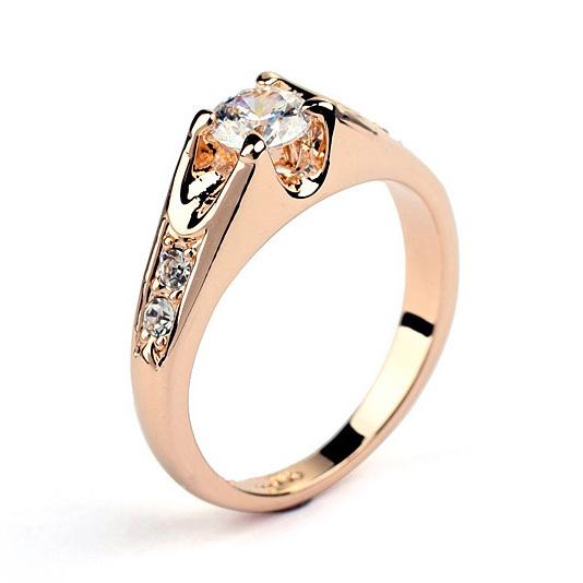 CZ Diamond Wedding Finger Rings 18K Gold Plated Cubic Zircon/Crys
