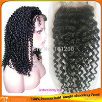 Free Shipping Virgin Human Brazilian Hair Kinky Curly Hair Lace Top Closure,4x4,Wholesale