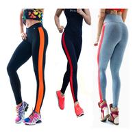 2014 New Fashion Women's Stripe Sport Patchwork Gym  High Waist Neon Leggings fitness