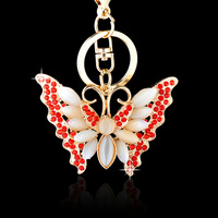 Fashion Beautiful Opal Butterfly Keychain With Crystal/Keychain Jewelry For Women
