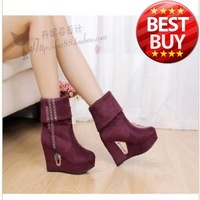 Spring models stretch velvet boots women within the higher slope with single shoes comfortable to wear suede boots Martin boots