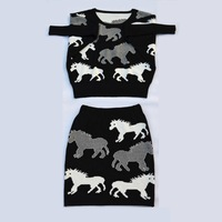 2014 New Womens knitted Sweater Skirt Clothing Set,Autumn OL Knit Casual Horse Bat Long Sleeve Skirts Set Wholesale Retail YS35A