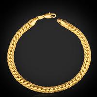 Classic '18K' Stamp Men's Bracelet High Quality Real Gold Plated Bracelet Figaro Chains 5MM 55CM 22'' For Men Wholesale MGC H739