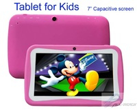 "New 7"" Android 4.0 Tablet PC For Kids Children with Educational Apps Capacitive Touch Dual Camera WiFi Pink Blue Soft Back Cover"