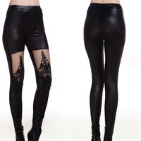 2014 new arrival fashion women print leggings leather pants fitness leggins punk rock gothic casual jeggings lace embroidery