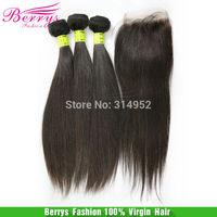 "Ali Berrys Fashion hair,Malaysian virgin hair straight weave 3pcs with 1pcs closure ,4pcs/lot,(12""-30"" ) new arrived Hair Weft"