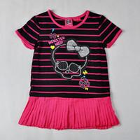 Monster.High Style Short Sleeve T-shirt + Black Pants Leggings 100% Cotton Print Style Girls 2 Piece Suits Clothing Sets(DA-014)